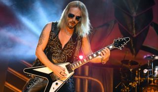 Richie Faulkner of Judas Priest performs on the final night of the band's Firepower World Tour at The Joint inside the Hard Rock Hotel & Casino on June 29, 2019 in Las Vegas, Nevada