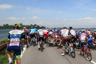 The crash on the causeway at the start of stage 15 of the Giro d'Italia