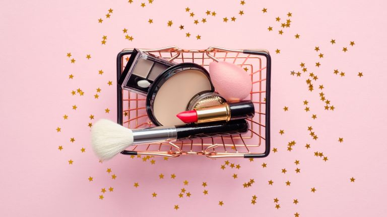 Beauty Edit of new beauty products in a small shopping basket