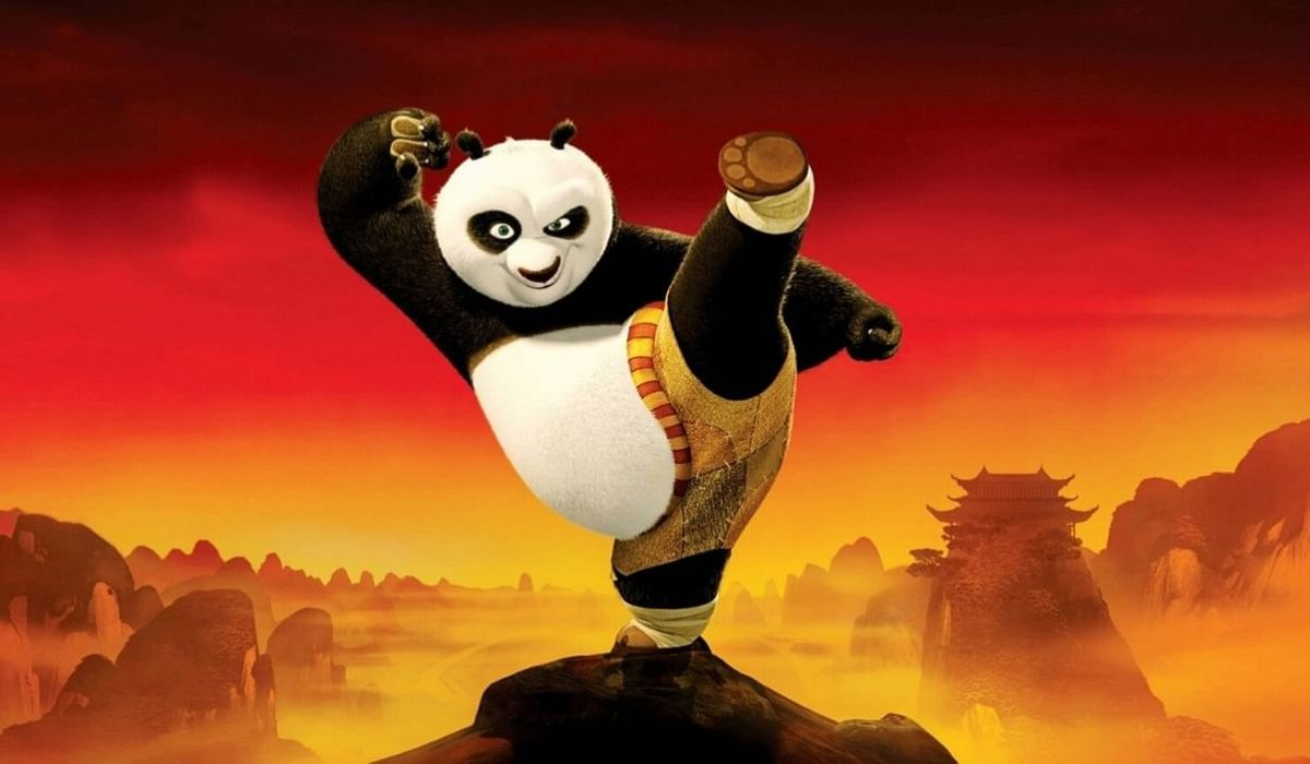 Kung Fu Panda Po poses on a mountain