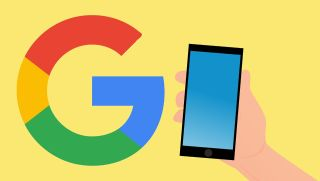 """Illustration of the Google """"G"""" logo and hand holding a cell phone"""