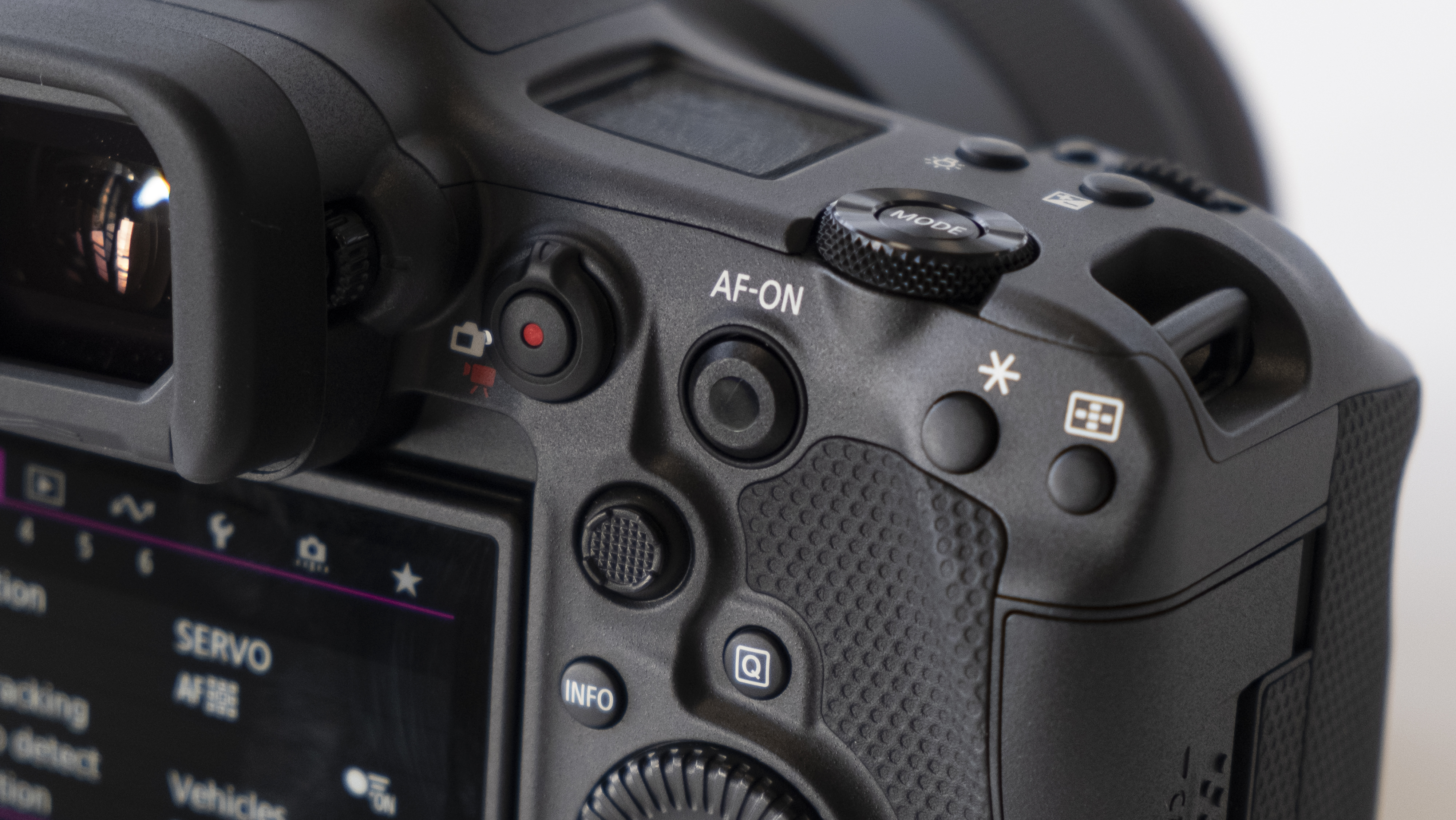 The rear buttons of the Canon EOS R3 mirrorless camera