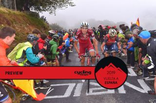 Ilnur Zakarin leads Vincenzo Nibali up the climb of Los Machucos on stage 17 of the 2017 Vuelta a Espana