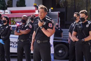 """L-R: Natacha Karam, Brian Michael Smith, Rob Lowe and Ronen Rubinstein in the """"Back in the Saddle"""" season premiere episode of 9-1-1: Lone Star"""