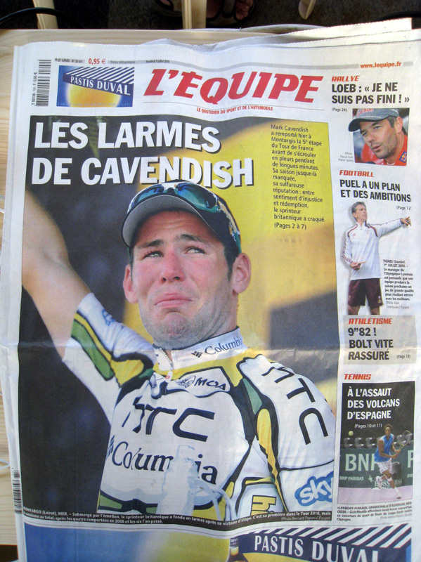 L'Equipe front page, 9 July 2010