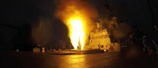 A missile is fired off a U.S. warship.
