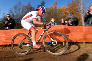 World Cup leader Katerina Nash (Luna) in action on home soil in round 4 of the 2019/20 UCI Cyclo-cross World Cup in Tabor, in the Czech Republic
