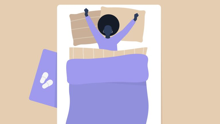 How to get back to sleep, illustration of woman stretching in bed
