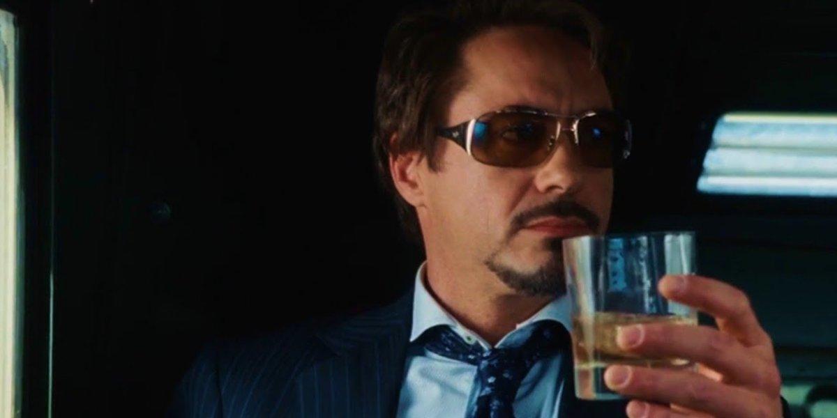 Robert Downey Jr. as pre-armored Tony Stark in Iron Man
