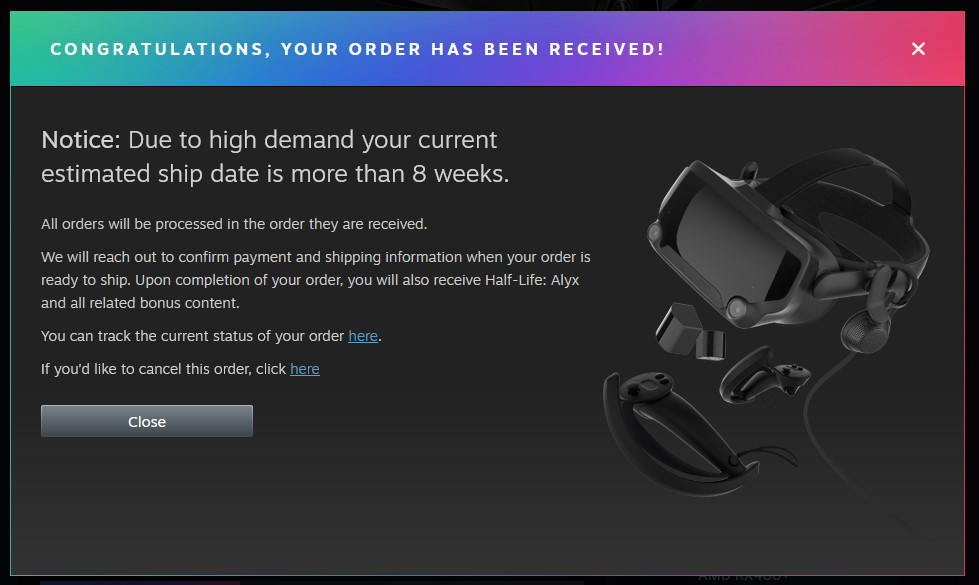 Valve's Index VR kit has already sold out