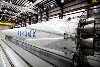 A close-up look at the landing legs on a private SpaceX Falcon 9 rocket launching from Cape Canaveral Air Force Station, Fla., on April 14, 2014. The Falcon 9 rocket will launch a Dragon cargo ship to the International Space Station, then attempt to retur