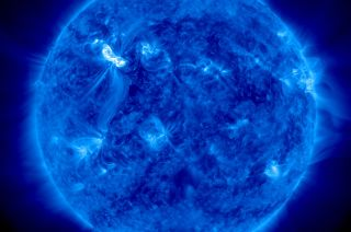 This image from NASA's Solar Dynamics Observatory shows the sun as it unleashed an X5.4-class solar flare at 7:04 p.m. EST on March 6, 2012 (0002 March 7 GMT).