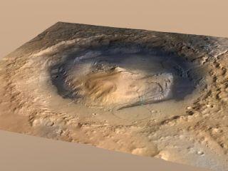 Mount Sharp inside Mars' Gale Crater.