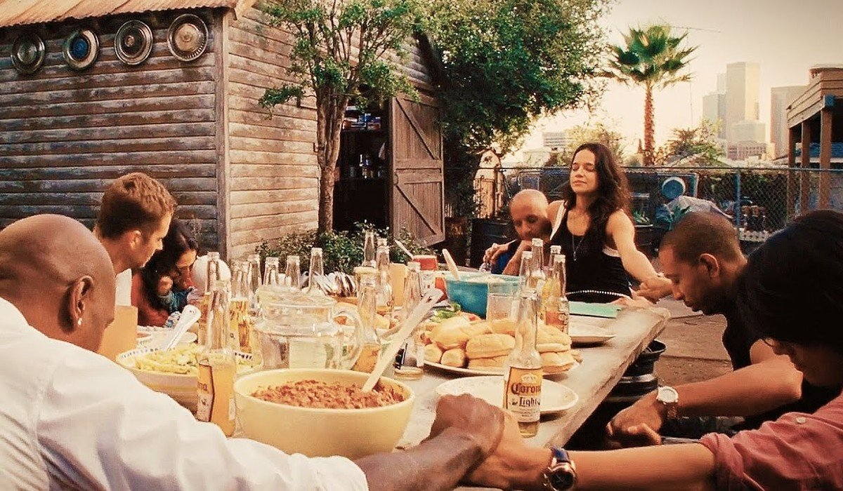 The Family sitting down for dinner Fast and Furious