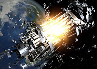 Satellite collision from space debris