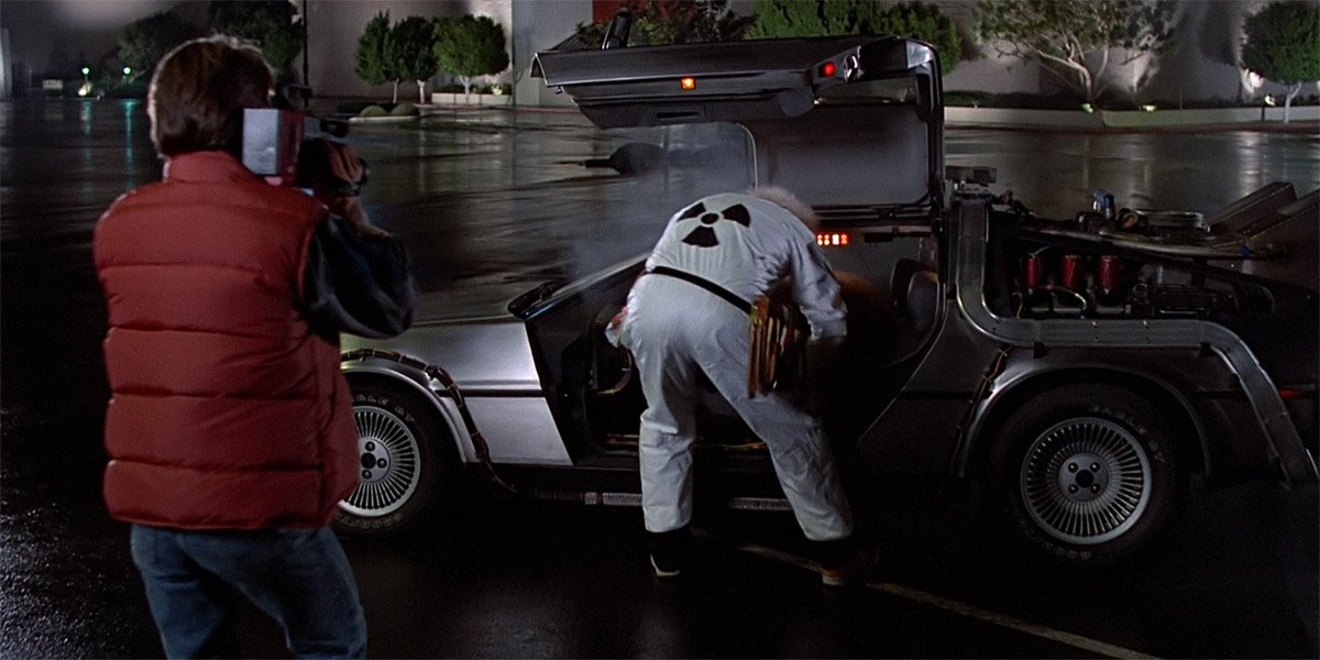Doc shows Marty the DeLorean Time Machine in Back To The Future