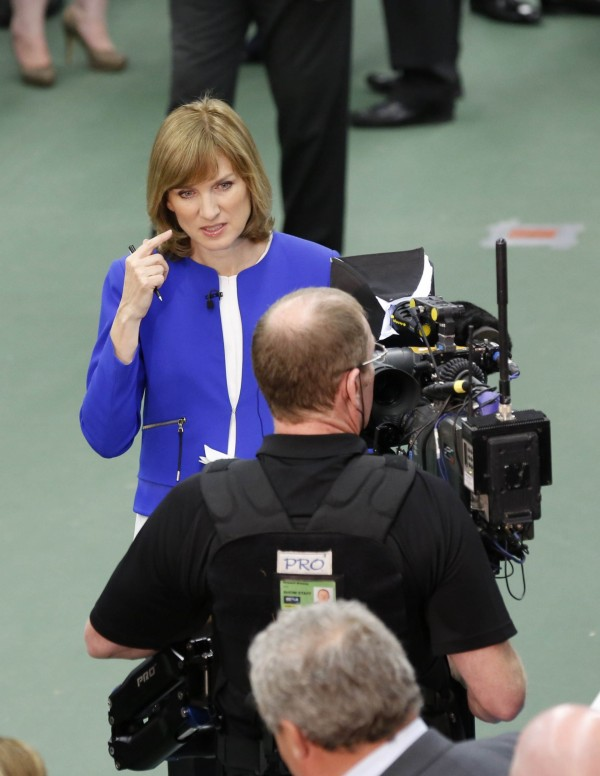 Fiona Bruce at work as a reporter