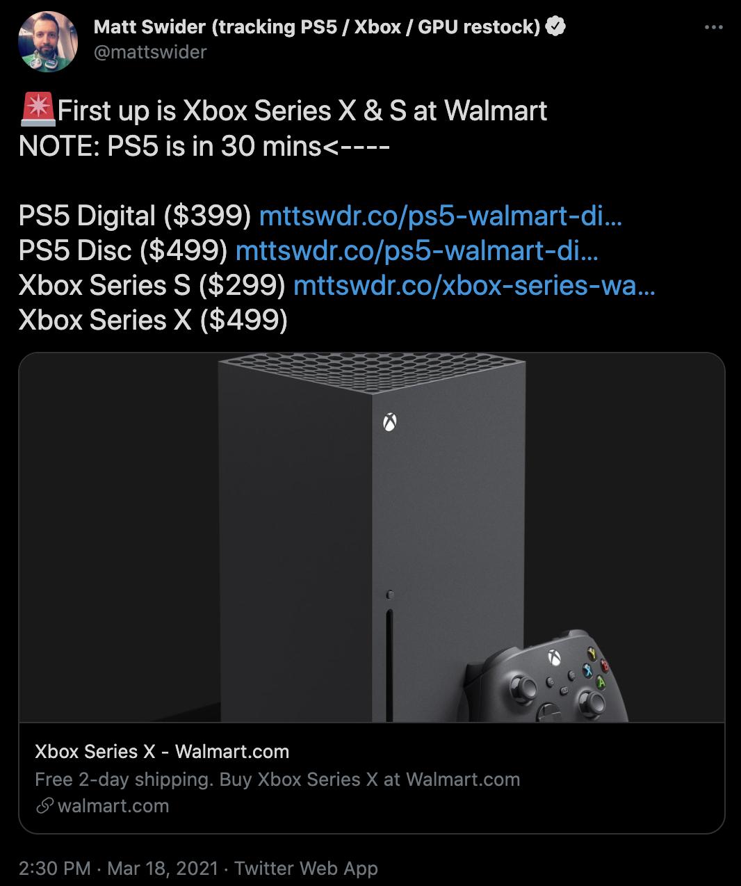 Xbox Series X restock matt swider