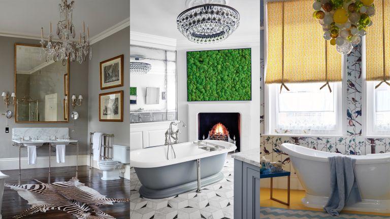 A composite of bathroom chandelier ideas