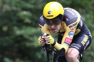 Jumbo-Visma's Tom Dumoulin races to second place in the Planche des Belles Filles time trial on stage 20 of the 2020 Tour de France