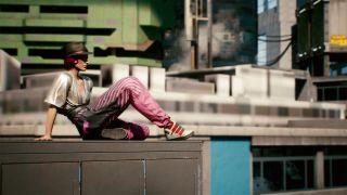 Cyberpunk 2077 V on roof