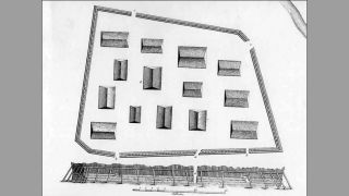 Historical drawing of the sapling fort by Y. Lisyansky.