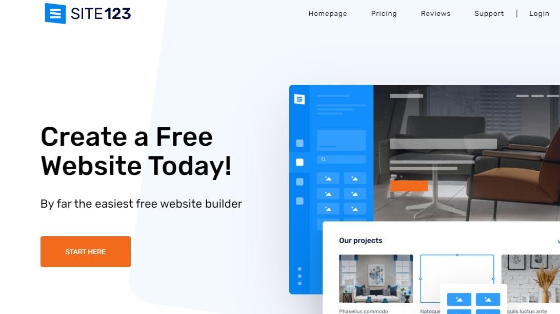 La page d'accueil de Site123