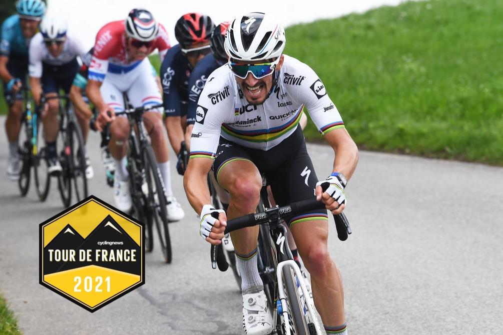 PFAFFNAU, SWITZERLAND - JUNE 08: Julian Alaphilippe of France and Team Deceuninck - Quick-Step attacks during the 84th Tour de Suisse 2021, Stage 3 a 185km stage from Lachen to Pfaffnau 509m / #UCIworldtour / @tds / #tourdesuisse / on June 08, 2021 in Pfaffnau, Switzerland. (Photo by Tim de Waele/Getty Images)