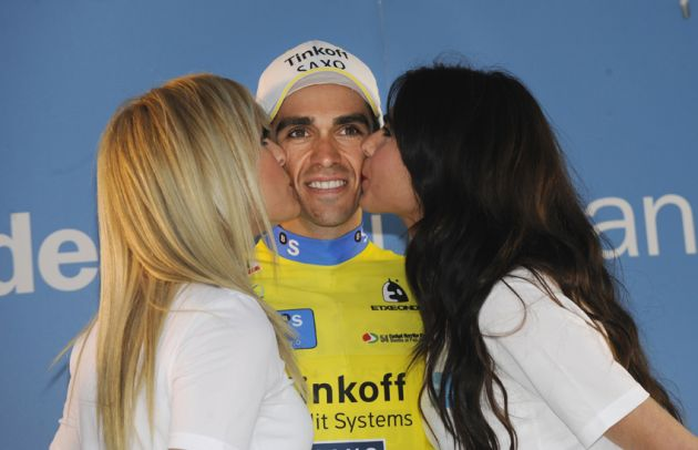 Alberto Contador on the podium after winning the 2014 Tour of the Basque Country