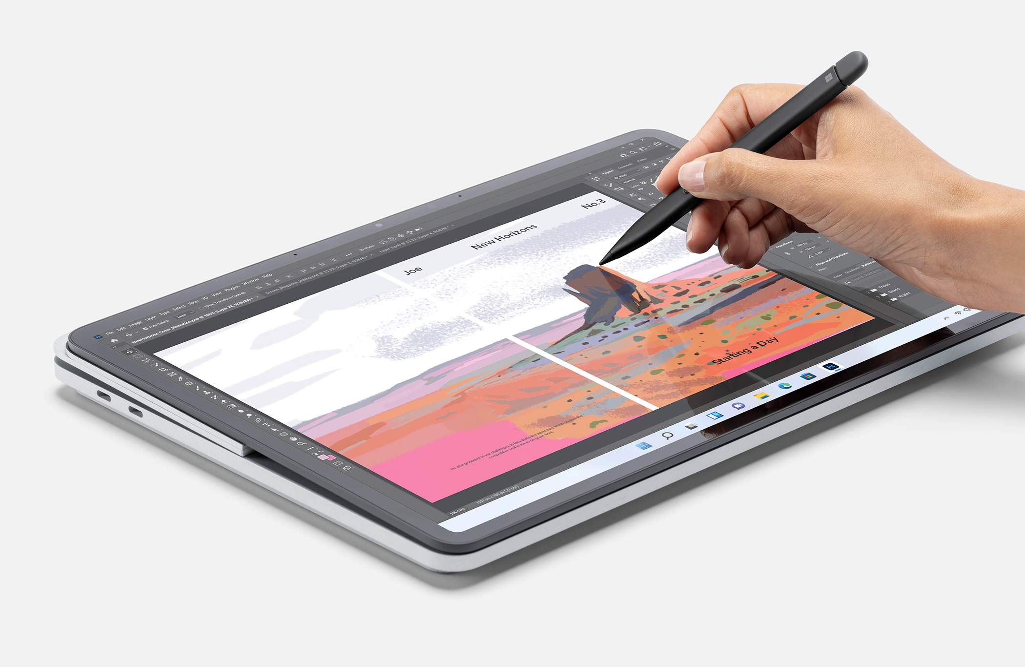 The Surface Laptop Studio in tablet mode with the Surface Slim Pen 2 writing on it