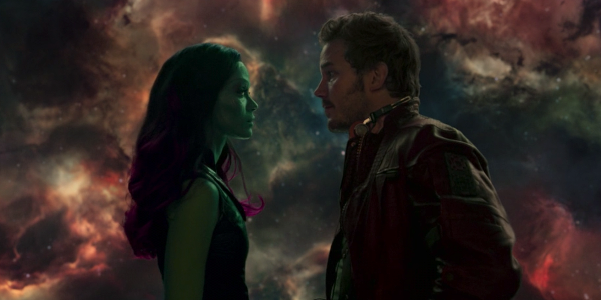 Gamora and Star-Lord in the balcony