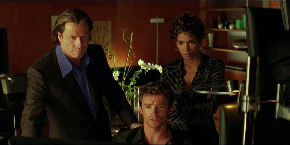 John Travolta, Hugh Jackman, and Halle Berry in Swordfish