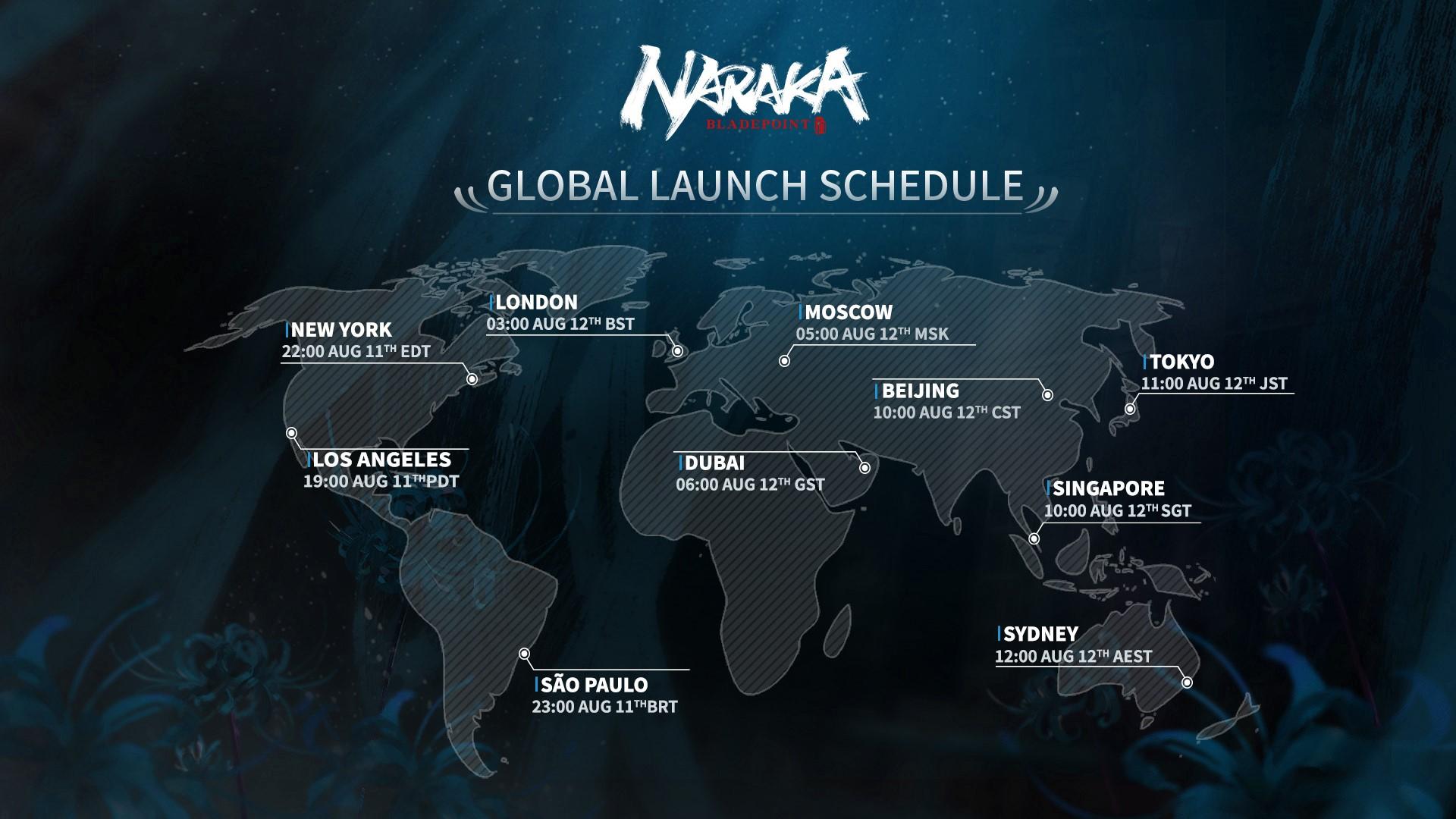 Naraka Bladepoint release times