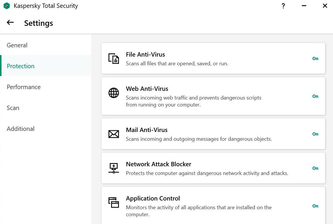 The Protection Settings screen in Kaspersky's 2021 Windows antivirus programs.