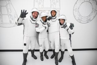 The crew of the private Inspiration4 mission —from left, Chris Sembroski, Sian Proctor, Jared Isaacman and Hayley Arceneaux — wrapped up their training at SpaceX headquarters in Los Angeles and headed to Florida on Sept. 9, 2021. The quartet is scheduled to launch to Earth orbit aboard a SpaceX Crew Dragon capsule from NASA's Kennedy Space Center on Sept. 14, 2021.