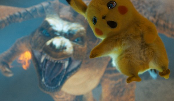 Detective Pikachu falling towards an angry Charizard