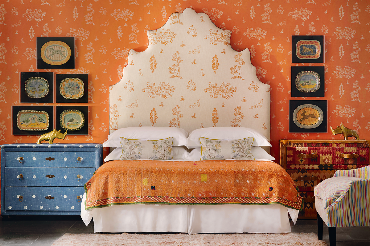 Wychwood wallpaper in Melon Orange, £60 a roll; and headboard in Friendly Folk viscose-mix in Melon Orange, £50m, all Kit Kemp for Andrew Martin at ...