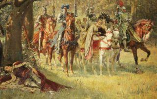 How Four Queens Found Sir Lancelot Sleeping by William Frank Calderon