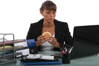 woman, desk, hamburger