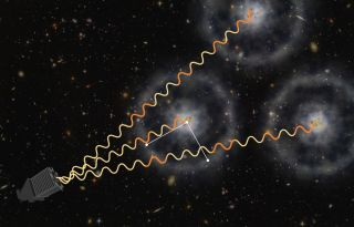 Artist's Conception of How BOSS uses Quasars