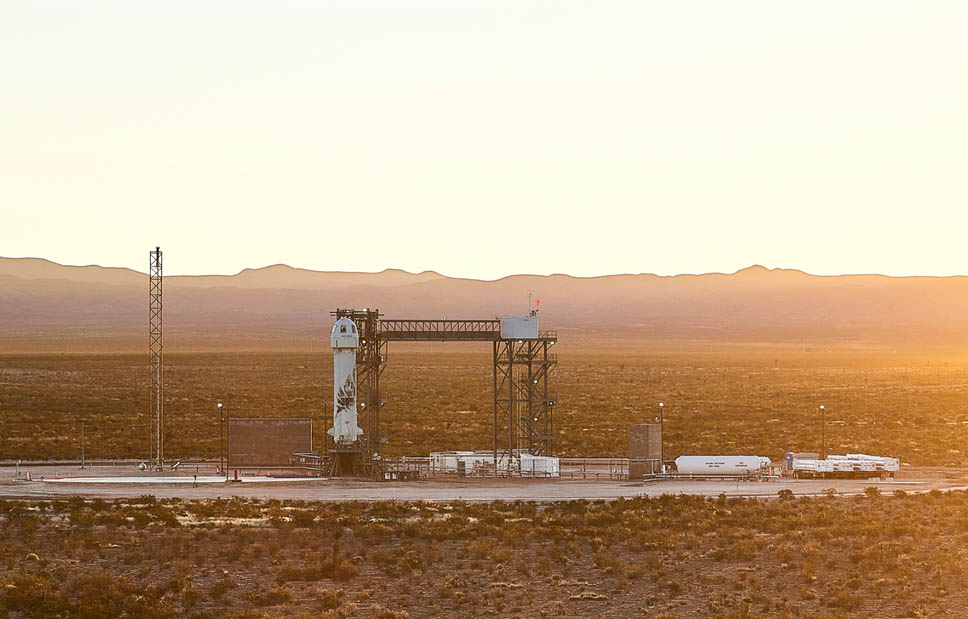 Blue Origin's New Shepard rocket and capsule stand atop the company's Launch Site One near Van Horn, Texas ahead of a planned launch of founder Jeff Bezos and three others on July 20, 2021.