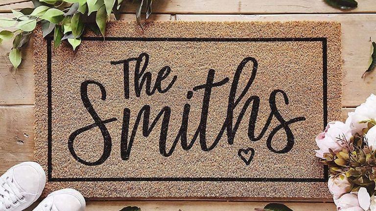 Customat Personalised Door Mat on the floor 'The Smiths'