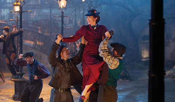 Mary Poppins Emily Blunt dancing with Chimney Sweeps in Mary Poppins Returns