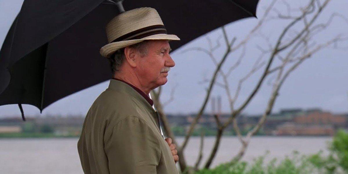 Bill Raymond under the umbrella