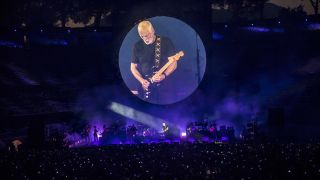 David Gilmour onstage in Pompeii