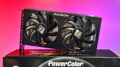 AMD Radeon RX 6600 graphics card on colourful background.