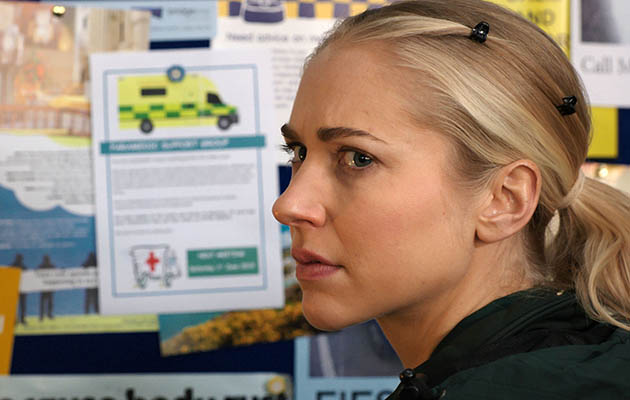 Paramedic Ruby (Maddy Hill) faces her worst fears in Casualty