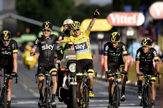Chris Froome and his teammates at the finish of Stage 21 of the 2015 Tour de France