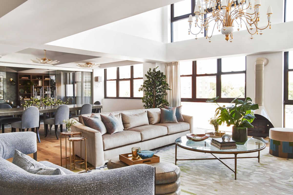 Explore a modern Brooklyn apartment that blends glamorous style with family life