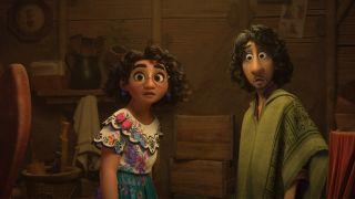 Mirabel and Bruno looking surprised in Encanto